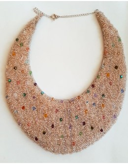 Necklace / collar with embroidery of beads and Swarovski crystals