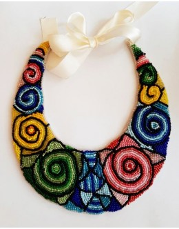 Necklace / collar with bead embroidery  multicolour1