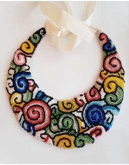 Necklace / collar with bead embroidery  multicolour2
