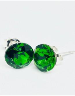 Crystals earrings fern green