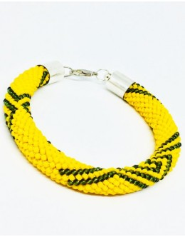 The knitted grey & yellow tubular bracelet