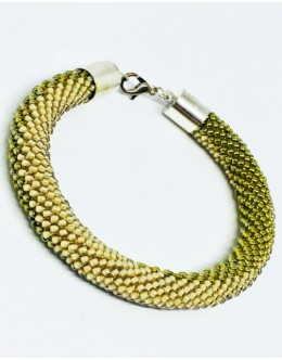 The knitted green & yellow tubular bracelet